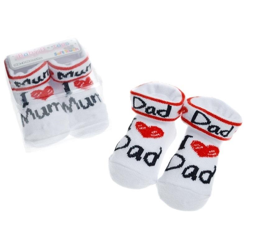 Καλτσάκια βρεφικά της Soft Touch - I love Dad  I love Mum (S284) 216214e79fa