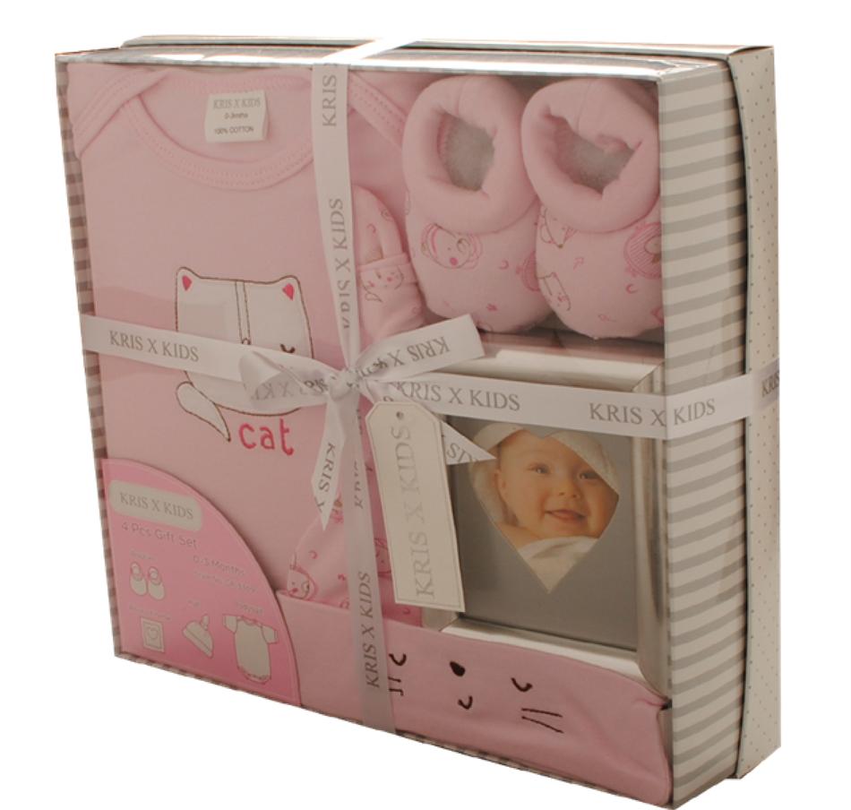b52523d5e3e Βρεφικό σετ δώρου 4τμχ για κορίτσι,Αγγλικής προέλευσης , σε κουτί  (GP-3309)- Kris X Kids