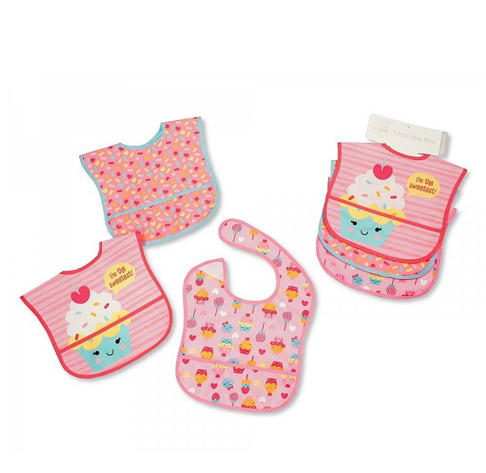 62dbf4d9d7 Σετ 3τεμάχιων πλαστικές σαλιάρες της Nursery Time (818) cupcakes
